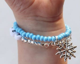 Snowflake Bracelets, Toddler Christmas Outfit, Snowflake Charm Bracelet, Kids Christmas Bracelet, Toddler Christmas Jewelry, Bracelet
