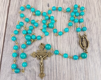 Blue Gemstone Rosary with Our Lady of Grace centre
