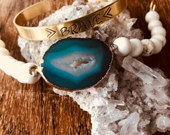 Blue Agate and White Turquoise Bracelet, Druzy Bracelet, Geode Connector Bracelet,