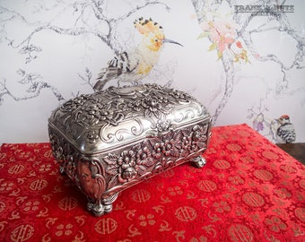 Vintage   metal jewelry box, ornate trinket box, necklace ring box, Art Noveau style, romantic, lined, roses and flowers, repousse