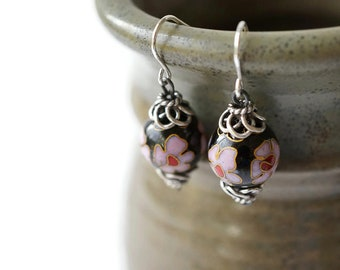 Cloisonne Cherry Blossom Earrings, Cloisonne Earrings, Sterling Silver Earrings, Dangle and Drop Earrings, Enameled Earrings