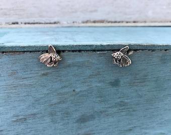 1979 Fancy Goldfish Sterling Silver Little Stud Post Boho Chic Earrings 1g