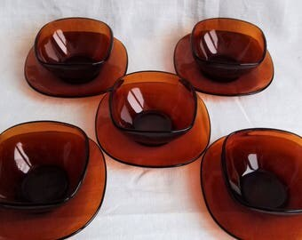 Set of Five Vintage French Vereco Amber Glass Bowls with Saucers