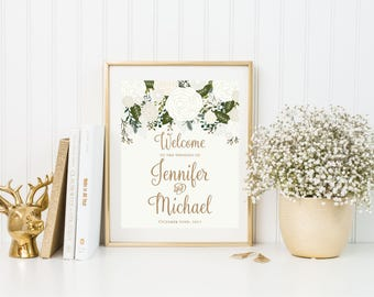 Printed Wedding Welcome Sign, Vintage Welcome Wedding Sign, Welcome Wedding Sign, Rustic Wedding Sign, Wedding Sign, Reception Sign #CL112