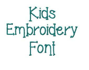 2 Inch - Kids Embroidery Font - INSTANT DOWNLOAD - Capitals Lowercase Numbers