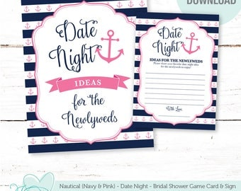 Nautical Navy and Pink Date Night Ideas For The Newlyweds, Bridal Shower Game, Wedding Game, Bachelorette Party, Anchor, 7N