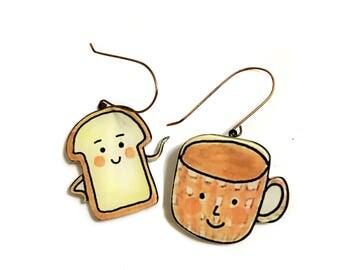 Coffee and Toast Breakfast Earrings, Best Friends gift, Food, cool, big Fun, Cute Statement earrings, Children Drawing,