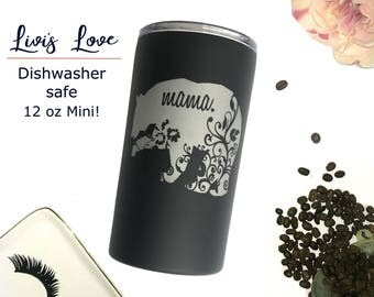 Mama Bear Travel Mug - Floral Straw Tumbler - Mom Coffee Thermos - Unique Mama bear cups Mini Small Tumblers Mother's Day Birthday Christmas