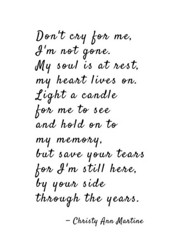 Clearance 50% off - Sympathy Gift Poem Print - Don't Cry for Me Poem - Grief Gifts - Poetry by Christy Ann Martine