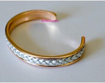 Rose gold coated grey braided leather bracelet
