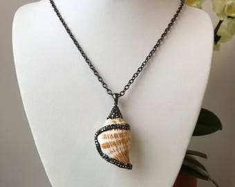 Conch Shell Pendant with Grey Crystals