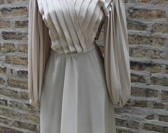 Vintage Dress / Chevron Pleats / Vintage 80s