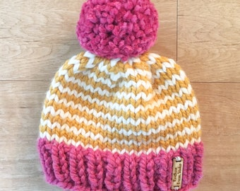 Pink + White + Gold Striped Child Size Knit Winter Hat + Pom Pom