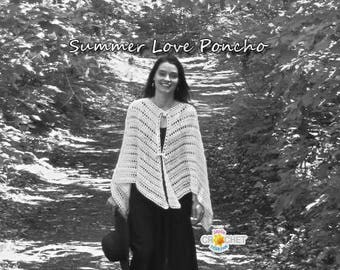 Summer Love Poncho / Shawl Crochet Pattern - PDF - Hippie, Boho, Forest Fairy Style