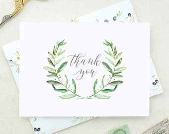 Thank You Cards Wedding Set. Baby Shower Thank You Cards. Floral Thank You Card. Set of Floral Thank You Cards. Leafy Wreath Thank You Card.