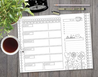 A4, Printable Planner, Weekly Calendar, Bullet Journal, BuJo, Adult Coloring, To Do List, Grocery List, Meal Prep, Printer Friendly