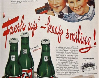 1945 7-Up Vintage Advertisement Kitchen Wall Art Game Room Decor Cafe Print Pop Culture Wall Hanging Original Magazine Ad Soda Ephemera