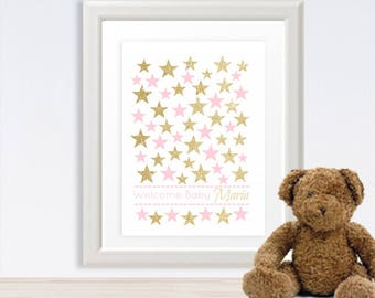 Twinkle Little Star Baby Shower Guest Book Alternative Guests Sign a Star! Little Star Baby Shower Pink & Gold Baby Shower - 52777