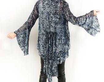 Luna Blue Velvet Cut-out Bell Sleeve Kimono