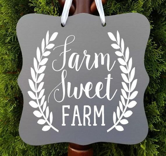 Farm Sweet Farm Sign, Farmhouse Sign, Kitchen Decor, Farm Sign, Cafe Sign, Door Sign, Country Kitchen Sign, Store Sign, Wreath Sign