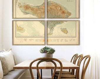 "Bali map 1912, vintage map of Bali, Indonesia, 4 sizes up to 64x48"" (160x120 cm) in 1 or 4 parts, also in blue - Limited Edition of 100"