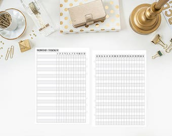 A5 Monthly Habit Tracker - Fitness Goals - Weekly Habits - Goal Tracker - 31 days - Monthly calendar - Printed Inserts