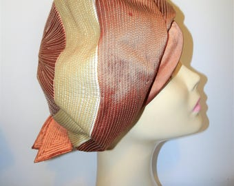 Vintage Ladies Hat 1950's Mitzi Lorenz Copper and Beige  Stitiched Satin High Front Beret Design with back Bow