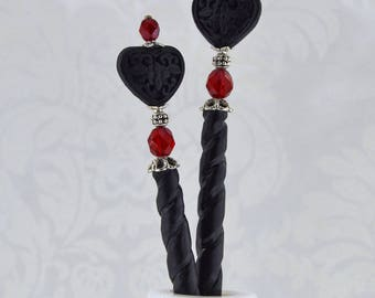 Black Black Heart Hairsticks - burgundy and antique silver