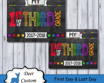 First Day of School Sign | Printable First Day | School Sign | Third Grade | Back to School Sign | First Day of School | Chalkboard Sign