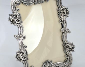 Victorian Rococo Revival sterling table top picture frame, 5 1/2 x 3 1/2 photo