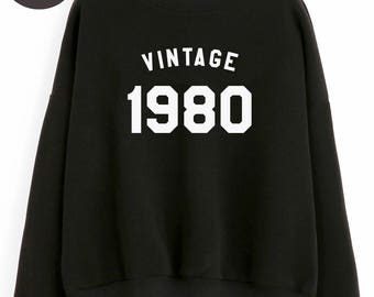 Vintage Sweatshirt 38th birthday gift sweatshirt number tshirt birthday shirt 1980 sweater pullover sweatshirt women gifts men sweatshirt