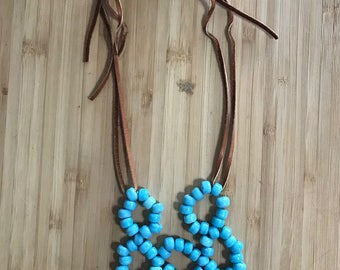 Beaded Bib necklace with leather