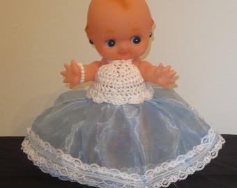 """Kewpie Doll in Sky Blue Petticoat Puff Dress (8"""" Tall)"""