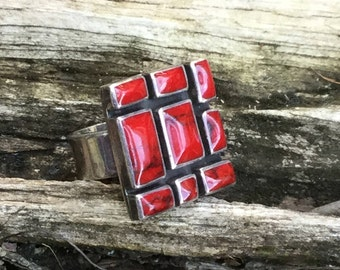 Red Turquoise Mosaic Ring set in Sterling Silver