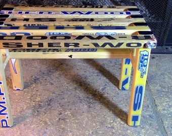 Footstool constructed/upcycled from vintage Sher-Wood wooden hockey sticks