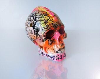 SKULL Sculpture, Resin Skull Art, Human Skull, Skull Decor, ART OBJECT, Original art, Abstract Graffiti art, Gift Ideas, neon art,RadiciVolo