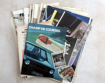A automobile themed selection of ephemera. Pack for art, collage or journaling. Adverts and magazine pages.