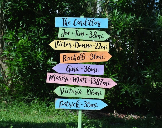Family Name Sign Wood Home Decor, Wooden Directional sign post, Mileage signage, Unique Custom Housewarming gift