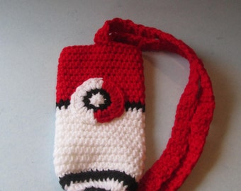Crochet, Handmade, Inspired by Pokemon, Water Bottle Holder, Water Bottle Carrier, Water Bottle Cozies, Water Bottle Holder, Poke Ball,