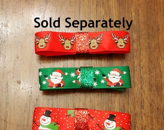 Cute Character Holiday Bow Barrettes, Choose one of Reindeer, Santa, or Snowmen print on French Barrettes or Alligator Clips