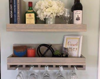 "LIMITED QUANTITY 24"" Wood Wine Rack Shelf & Glass Holder Organizer Unique in Sunbleached"