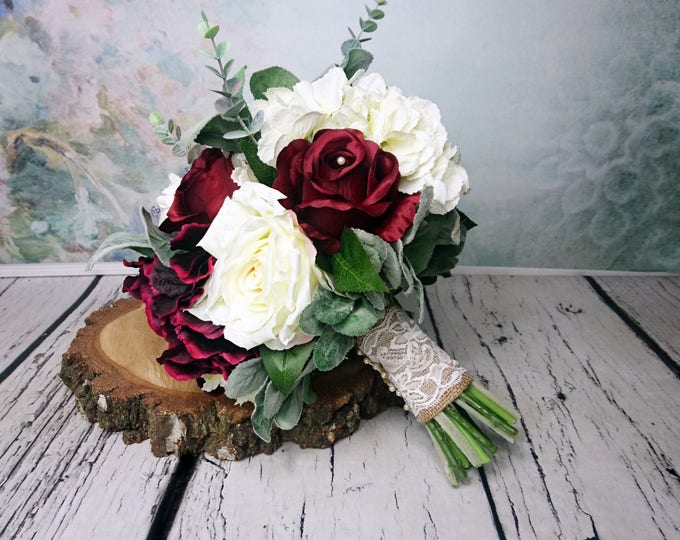 Large wedding bouquet realistic silk flowers burgundy ivory dusty miller greenery rose hydrangea peony eucalyptus elegant rustic burlap lace