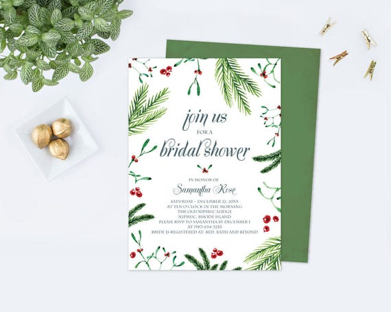 Christmas BRIDAL SHOWER Invitation Template PDF, Christmas Invitation  Template, Christmas Invites, Wedding Editable Download, Customizable  Bridal Shower Invitations Template