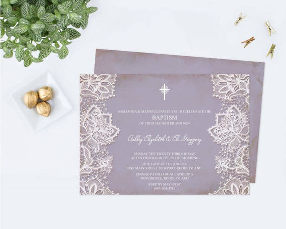 editable twins baptism invitation first communion purple