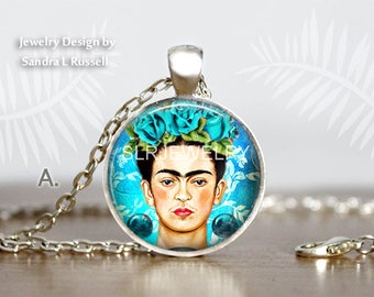 NEW! Frida Kahlo Necklaces, Frida Jewelry, Famous Artist, Women artist, Mexican Art Jewelry, Frida Gift, Photo image jewelry