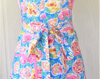 Pastel Floral Apron, Retro Apron, 50's Style, Pink and Blue, Vintage Inspired, KitschNStyle