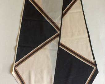Vintage Beautiful Vera Neumann Scarf with a Black, Brown and Beige Geometric Pattern Bias Pointed Ends 1980s - FREE SHIPPING EVERYWHERE