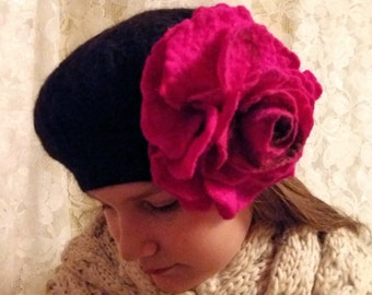 Felt Hat.Wool Felt Women Hat.Fuksia.Flower.Black hat.Wet Felting.Art felt.Wool.Handmade 100%.Merino Wool.