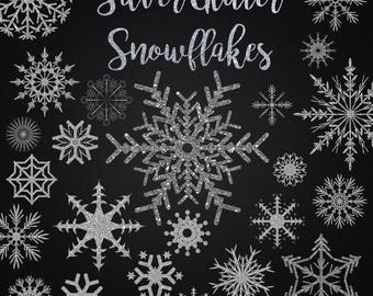 Silver Glitter Snowflake Clipart Assortment PNG Transparent Clip Art Graphics Christmas Holiday Digital Download