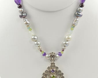 Pearl Aquamarine Amethyst Garnet and Peridot Necklace with Carved Bone Goddess Pendant